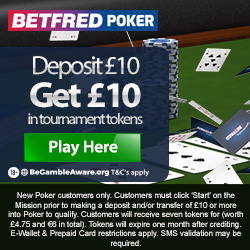 Poker Welcome deposit £5 recieve £10